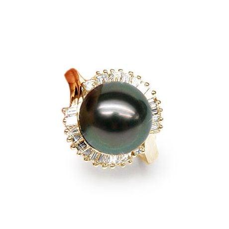 Anello Couronne - Oro Giallo, Diamanti e Perla di Tahiti