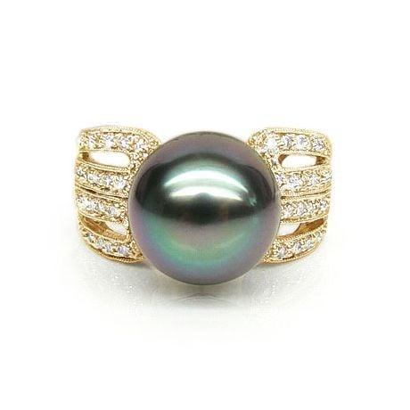 Anello Walker - Oro Giallo, Diamanti e Perla di Tahiti