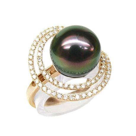 Création d'orfèvrerie - Bague luxe - Perle de Tahiti, or jaune, diamants