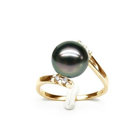 Bague solitaire ondulée - Perle de Tahiti - Or jaune, diamants