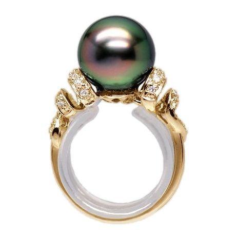 Bague or jaune stylée 2 époques - Perle Tahiti émeraude rosée, Diamants
