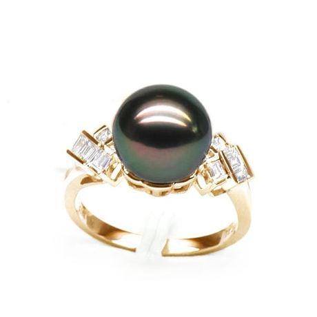 Anello Cedros - Oro Giallo, Diamanti e Perla di Tahiti