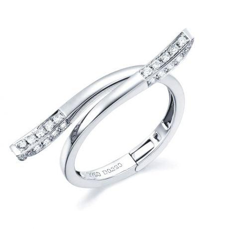 Anello ciondolo cuore d'oro bianco e diamanti | Polichinelle