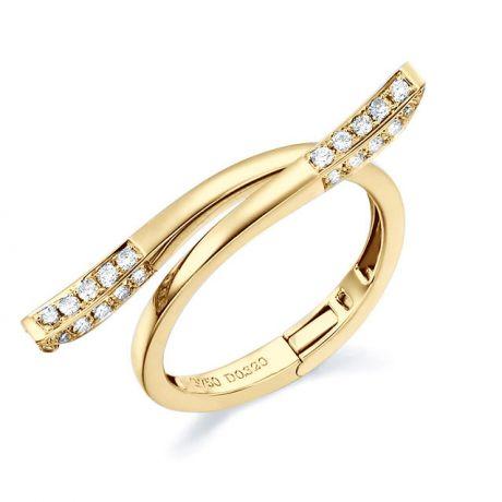 Anello ciondolo cuore d'oro giallo e diamanti | Polichinelle