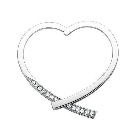 Anello ciondolo cuore - Oro bianco e diamanti 0430ct