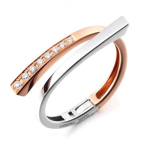 Anello ciondolo cuore - Oro bianco, rosa e diamanti 0190ct
