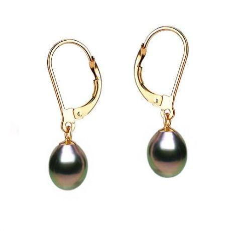 Boucles oreilles perles noires - Dormeuses or jaune - Perles 8/9mm