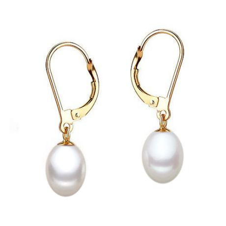 Boucle oreille dormeuse or jaune. Perle culture blanche Mariage