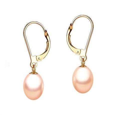 Boucles d'oreilles perles roses de culture 8/10mm - Dormeuses or jaune