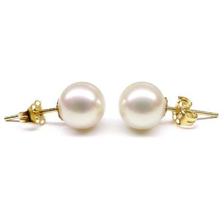 Boucles d'oreilles Athéna I Clous perles, Or Jaune I Gemperles