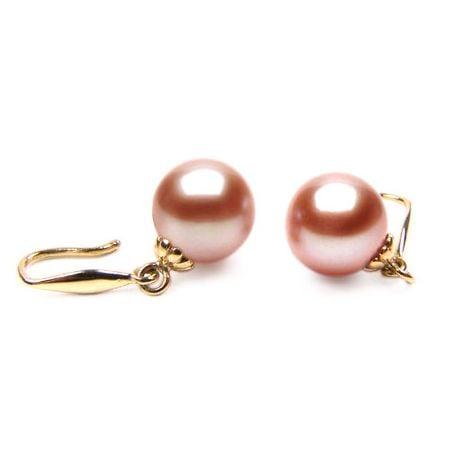 Orecchini Luna - Perle Acqua Dolce Rosa, Gancetti Oro Giallo