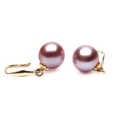 Boucles oreilles perles culture eau douce lavandes - Crochets or jaune