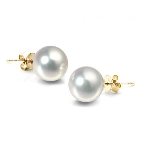 Boucles d'oreilles perles Akoya blanches. 8/8.5mm. GEMME. Or jaune