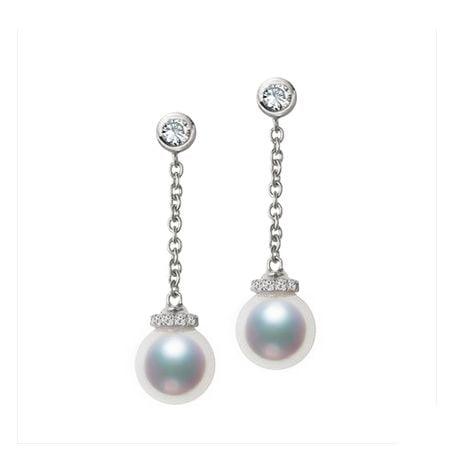 Pendantes chainette forçat. Perles Akoya Or blanc et diamants