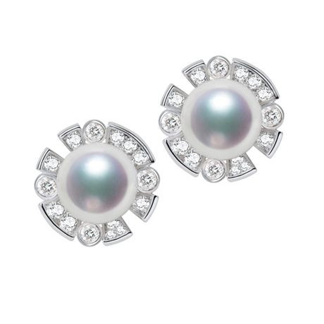 Boucles Oreilles Fleur Luxe. Perles Akoya, Or blanc, Diamants