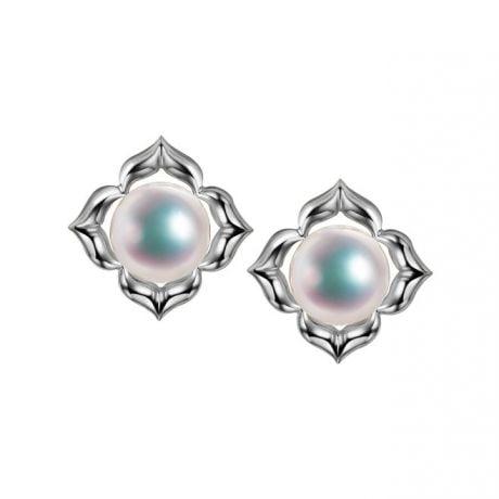 Boucles Oreilles Étoiles Filantes Perle Akoya Or Blanc
