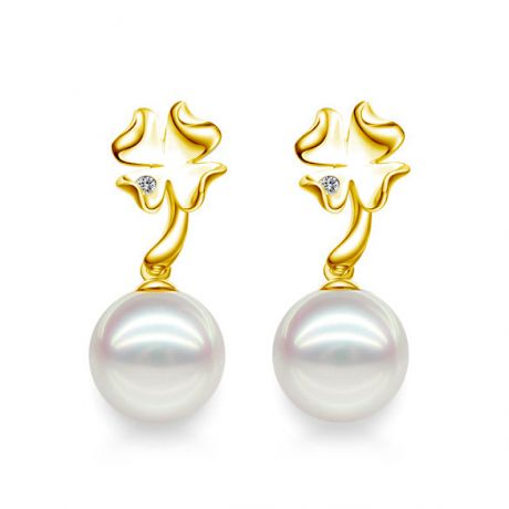 Boucles oreilles pendants - Perles Akoya - AAA - Or jaune et Diamants