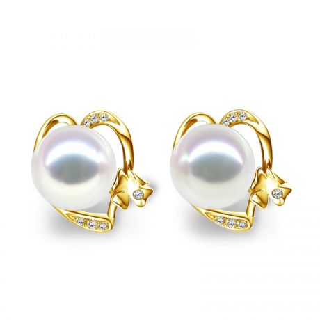 Boucles d'oreilles clous - Perles Akoya - Or jaune et Diamants