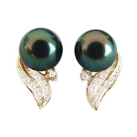Orecchini - Pendenti oro giallo - perle di Tahiti nere, verdi - 8.5/9.5mm