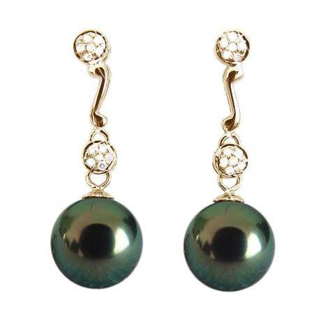 Boucles oreilles pendantes - Perles de Tahiti noires - Or jaune - Diamants