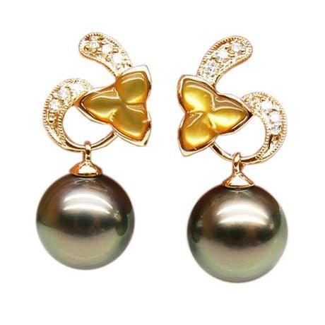 Boucles d'oreilles nacre dorée - Perles de Tahiti - Or jaune, diamants