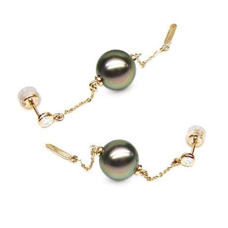 Orecchini - Pendenti oro giallo -  Perle di Tahiti nere, pavone - 10/10.5mm