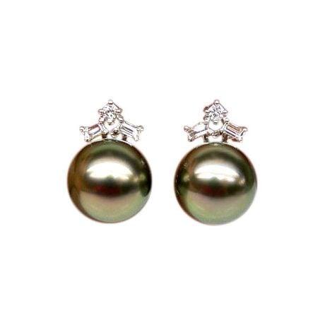 Orecchini - Farfallina oro bianco -  Perle di Tahiti nere, pavone - 10/11mm