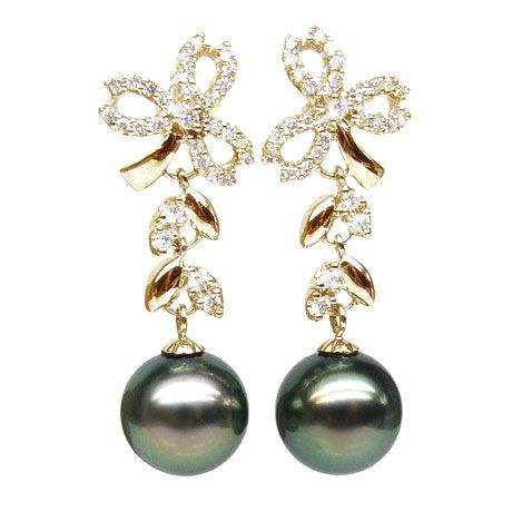 Orecchini Pendenti Florale - Perle di Tahiti Nere, Diamanti, Oro Giallo