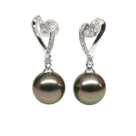 Orecchini - Pendenti oro bianco - Perle di Tahiti nere, pavone, melanzana - 9/10mm