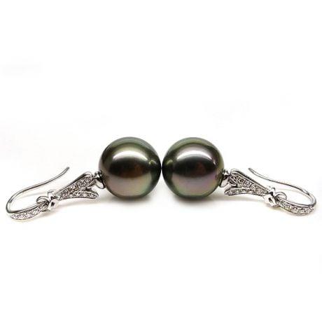 Boucles oreilles ruban avec perles de Tahiti - Or blanc, diamants