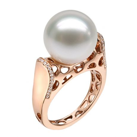 Anello Signature - Perla dei Mari del Sud Bianca e Oro Rosa
