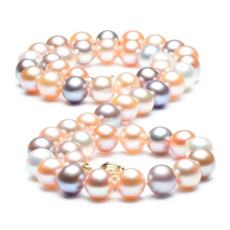 Collier perles multicolores - Perles de culture de Chine - 7.5/8mm