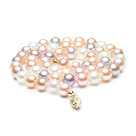 Collier de perles multicolores - Collier perles eau douce - 6.5/7mm