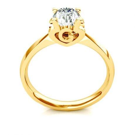 Anello Solitario Lettera Alfabeto G - Oro Giallo e Diamante | Gemperles