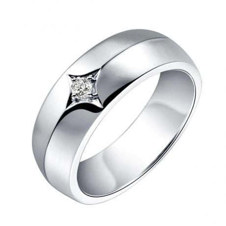 Anello per Uomo in Oro bianco 18ct. Diamante centrale | Borgia