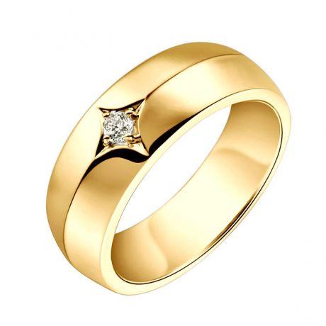 Anello per Uomo in Oro giallo 18ct. Diamante centrale | Borgia