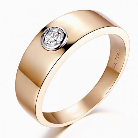 Anello per Uomo Leon - Oro Rosa & Bianco con Diamante Solitario | Gemperles