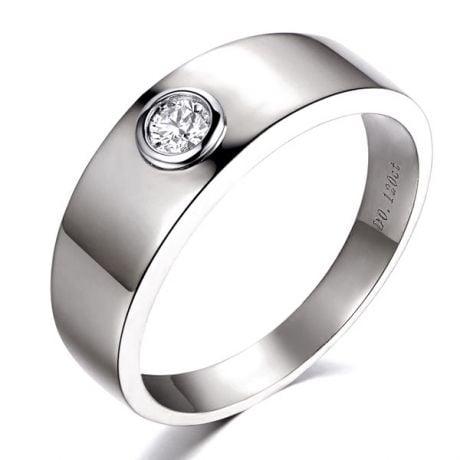 Anello per Uomo Melo - Oro Bianco con Diamante Solitario | Gemperles
