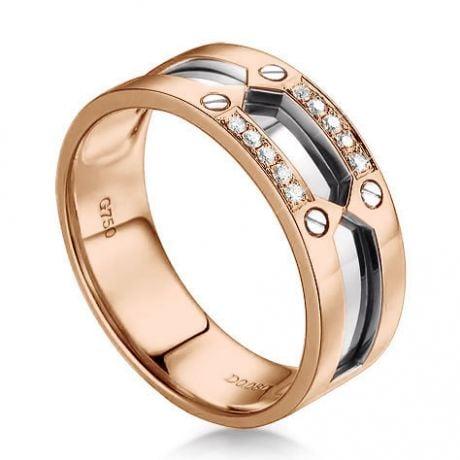 Anello Uomo in Oro rosa e bianco 18ct, Diamanti | Ford