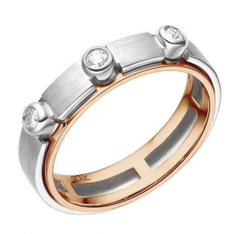 Bague contemporaine homme. Or blanc et rose, diamants sertis clos | Phède
