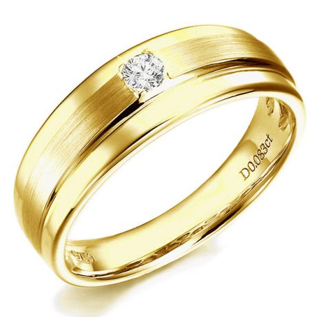 Anello Uomo - Oro giallo lucido e satinato - Diamante taglio brillante