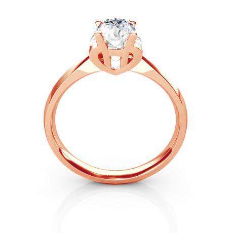 Anello Solitario Lettera Alfabeto H - Oro Rosa e Diamante | Gemperles