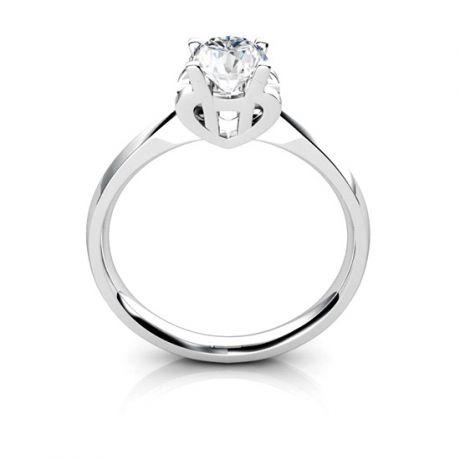 Anello Solitario Lettera Alfabeto H - Oro Bianco e Diamante | Gemperles