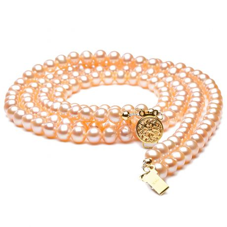 collier double rang perles roses - Perles de culture Chine - 5/5.5mm