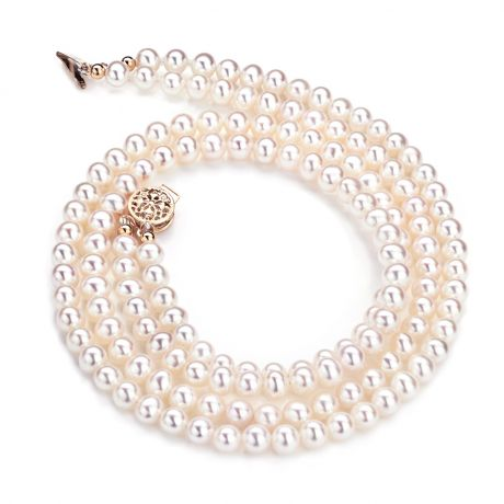 Collier double rang perles culture. Perle eau douce blanche 5/5.5mm