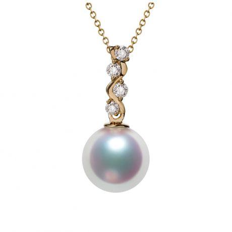 Ciondolo perle Akoya del Giappone. Edera Oro Giallo e Diamanti