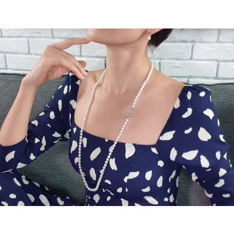 Collana Meiji - Perle Bianche Akoya Giapponesi 6/9mm