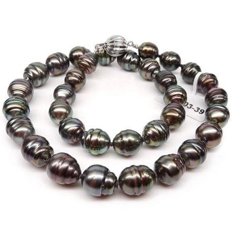 Collana in Perle di Tahiti Nere - Forma Cerchiata 8/10.8mm