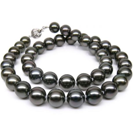 Collana perle di Tahiti nere, grigio, melanzana - 9/10mm - AAA