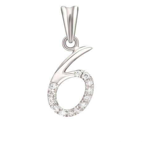 Pendentif chiffre 6 - Or blanc 18cts et diamants 0.065ct